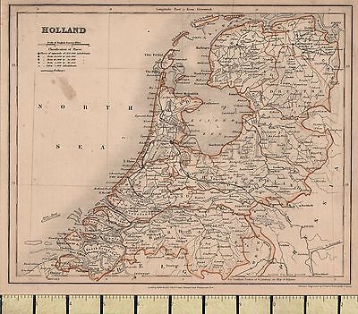c1860 VICTORIAN MAP ~ HOLLAND ~ WITH LARGE POPULATIONS