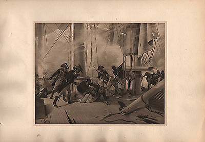 Antique Military Print Battle Of Trafalgar (1805) Marines Musket Sailors Cutlass