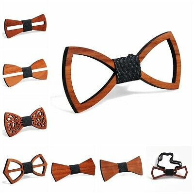 New Men's Wooden Bow Tie Necktie Handmade Wedding Hollow Out Neckwear Accessory