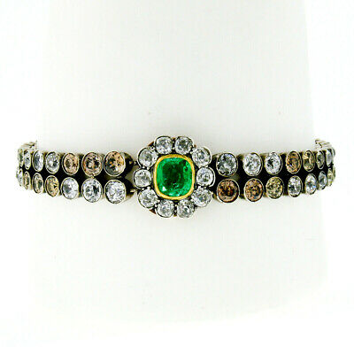 Antique Silver 14k Gold 19.09ctw GIA Emerald & Old Cut Colored Diamond Bracelet