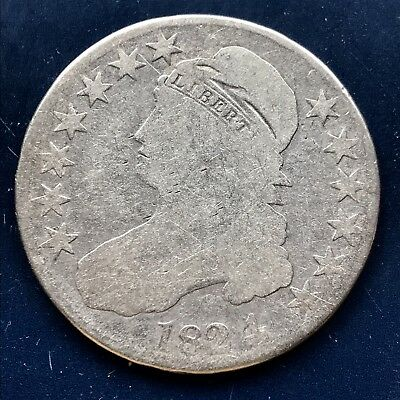 1824 over 4 Capped Bust Half Dollar 1824/4 50c Circulated Rare Overdate  #9773