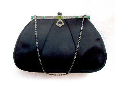 Artbag Art Deco Evening Bag Black Satin Green Cabochon Marcasite Vintage Superb