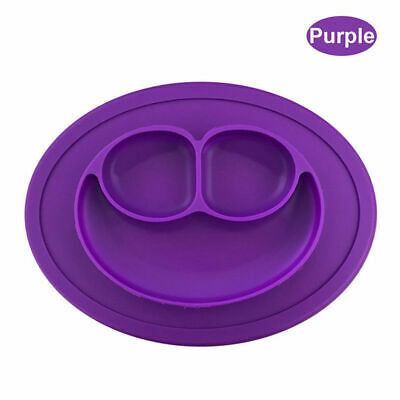 Purple Silicone Baby Toddler Suction Table Snack Mat(27x2x19)cm Happy Food Tray