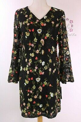 f52bf7bd467a Tahari by ASL Embroidered Bell Sleeve Shift Dress 8120M036 Size 6 New NWT