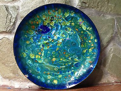 """Stunning Vintage Mid-Century Solid Copper & Enamel Large 10"""" Bowl Plate Dish"""