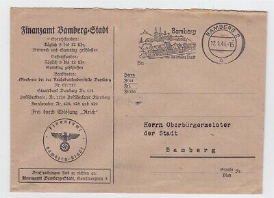 Germany Ww Ii Third Reich Official Cover Bamberg Tax Office