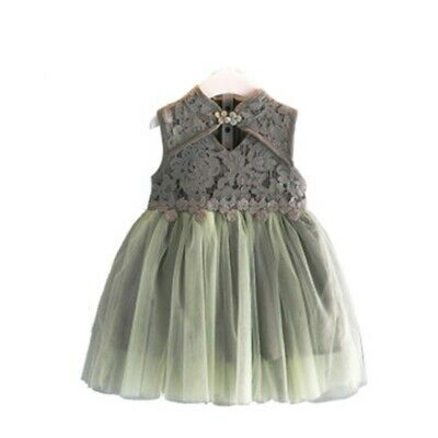 Floral Lace Kids Girl Dress Chinese Style Princess Dresses Fashion Children Wear