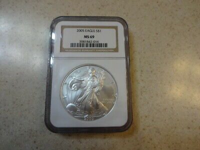 2005 $1 Dollar American Silver Eagle 1 Troy Oz Coin - NGC MS69