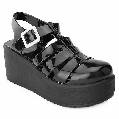 3aa480d6c9a RF ROOM OF FASHION Jelly Caged Round Toe Platform Wedge Sandals BLACK