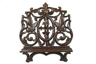 Antique Black Forest Reticulated Leaf Carved Book or Music Stand, German