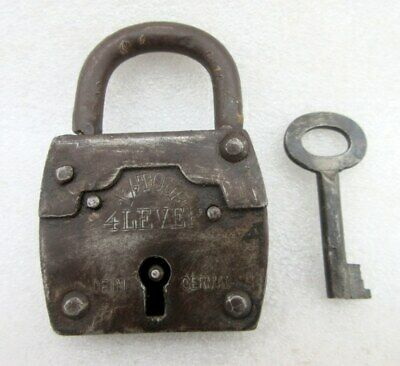 Antique Original Rare 1 1/2 Tour 4 Lever Old Collectible Made In Germany Padlock