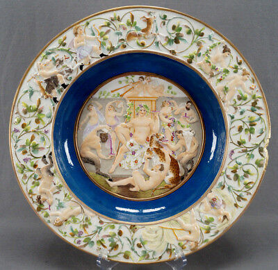 19th Century Italian Capodimonte Style Hand Painted Bacchanalia Leopard Charger