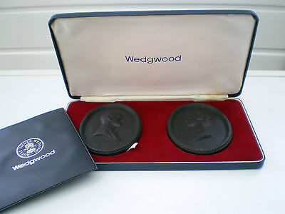 Wedgwood Black Basalt Medallions : Queen Elizabeth II : Silver Wedding : 1972