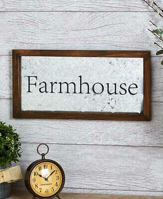 Framed Galvanized Farmhouse Wall Sign Plaque Primitive Rustic Country Decor Gift