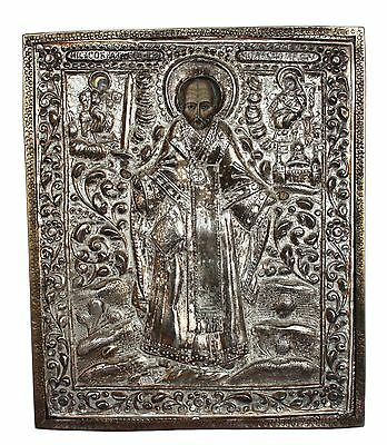 Antique 19th C Russian Hand Painted Wood Icon of St.Nicholas in Brass Riza