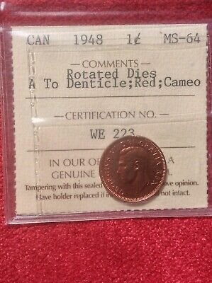 1948 1 Cent; ICCS MS-64 A To Denticle; Red; Cameo; Rotated Dies