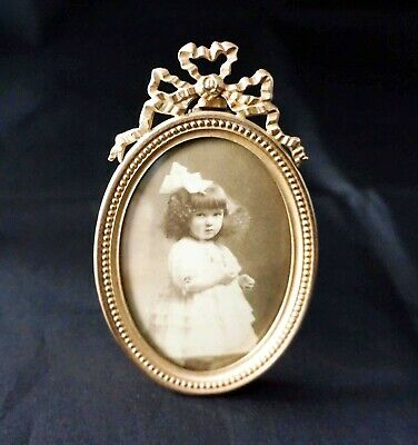 Antique Gilt Brass French Photo Frame with Oval Bubble Glass, Late 19th Century