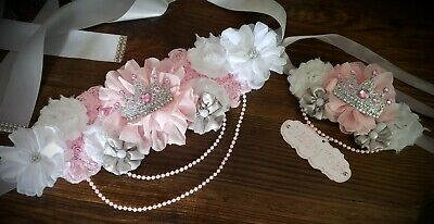 Maternity Sash Belt Pink White Silver Crown Princess Baby Shower W