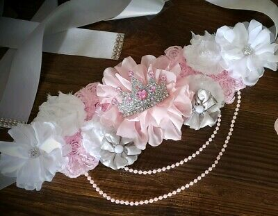 Maternity Sash Belt Girl Pink White Silver Crown Princess Baby