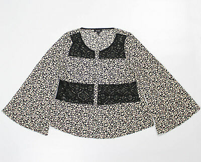 Soieblu Blouse Sz M White Daisies Black Lace Cutouts Trim Bell Sleeves Button Up