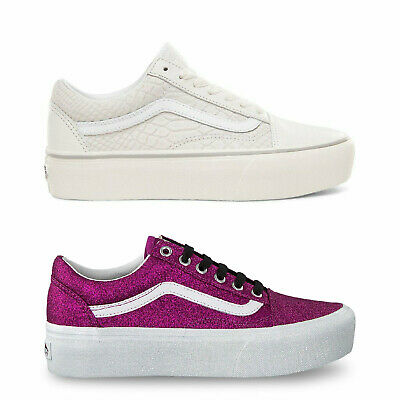 Vans Women Sneakers Old School Low Top Lace Up Platform Athletic Trainers Shoes