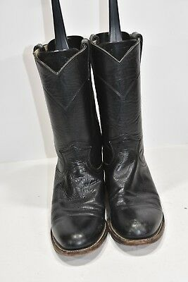 Justin L3703 Womens 6.5 B Black Leather Round Toe Western Cowboy Boots Ropers