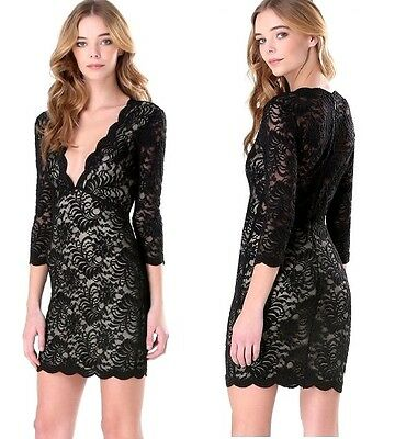 NWT bebe black ivory lace overlay deep v neck scallop top dress sexy XS 0 2 club
