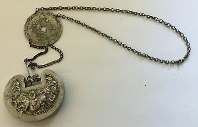 Antique China Chinese Qing Dynasty Qilin Silver Lock Chain Extremely Fine Rare