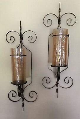 2 Antique bronze Metal Wrought Iron Candle Holder Tuscan Wall Sconce Crackle