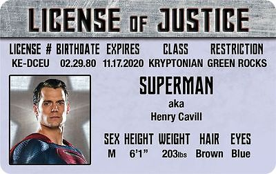 The JUSTICE LEAGUE of AMERICA Superman Henry Cavill ID  card Drivers License