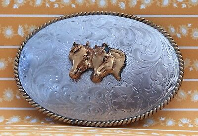 Vintage Mexican Alpaca **DOUBLE HORSE HEADS** Western Etched Silver BELT BUCKLE