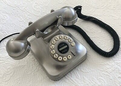 """GRAND"" Retro-Style Corded Stainless Telephone: Classic Landline Dial Desk Phone"