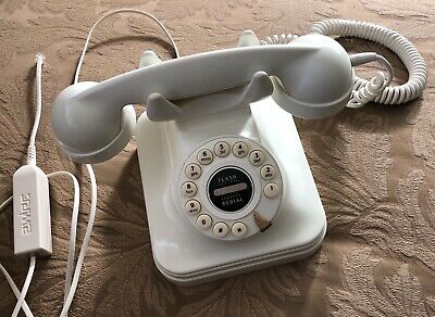 """GRAND"" Retro-Style Corded Ivory Telephone: Classic Landline Dial Desk Phone"