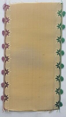Antique Silk Ribbon Coupon Sample Florals Along Sides Ruffle Edge French 1800's