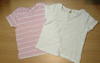 9-12 Months Baby Girls Clothes - set of 2 t shirts pink and white
