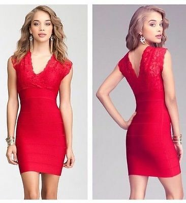 NWT bebe crimson red deep v neck lace bandage club party sexy top dress L Large