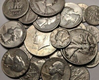 $5 Face Value 90% U.S. Silver Coins Dates 1930's -1964