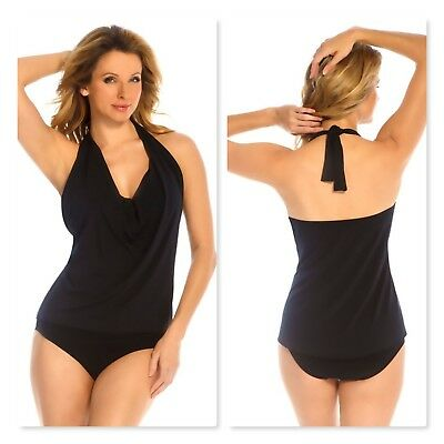 2a0f372ed1 MAGICSUIT BY MIRACLESUIT~Solid Black Sophie Draped Hi-Lo Tankini Top~10~