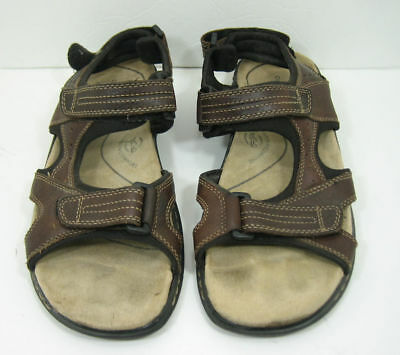 b930dbc1a1a0 Men s Dockers Brown Leather Sandals Size 11 M Adjustable Front and Back  Strap