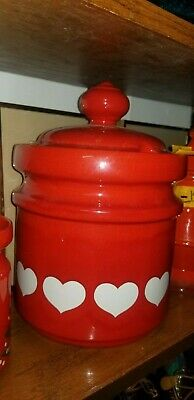 Vintage Waechtersbach Heart Red White Hearts Cookie Jar Canister Germany