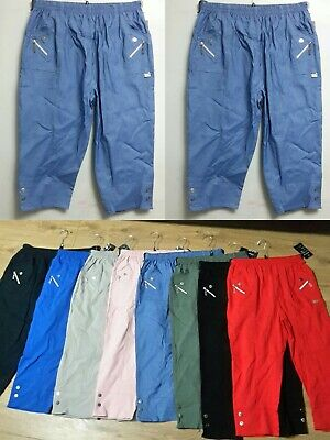 Women's Ladies New Elasticated Cotton Stretch Capri Cropped 3/4 Trousers Pants