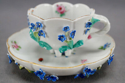 19th Century Dresden Hand Painted Blue Floral Encrusted Demitasse Cup & Saucer