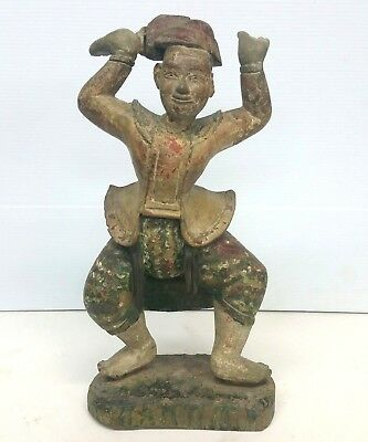 Old Asian Carved Wood Statue Dancing Male Figure 16'' Height