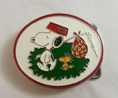 "SCHULZ ""Peanuts"" SNOOPY & WOODSTOCK BELT BUCKLE w/ Knapsack MINT CONDITION"