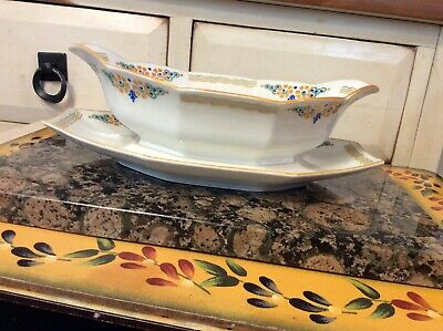 A.Lanternier & Co Limoges France  gravy boat and attached plate