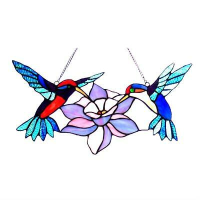 """Stained Glass Chloe Lighting Hummingbirds Window Panel 18"""" Wide Handcrafted New"""