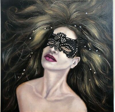 Portrait painting, Original Oil Painting Red Blue Perls, Beautiful Woman in Mask