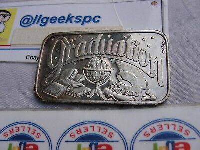 Vintage 1984 Graduation Crown Mint 1 Troy Oz .999 Fine Silver Art Bar Diploma