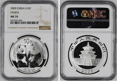 China Ms70 2009 Silver Panda Coin Ngc 1 Oz Silver 10 Yuan Chinese Panda