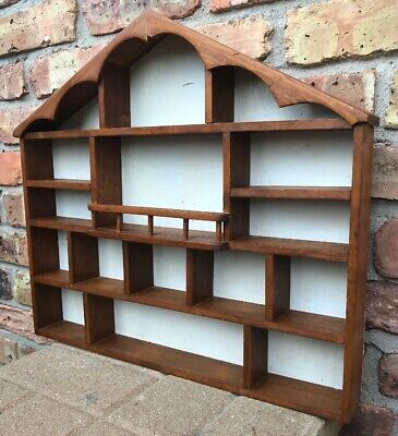 Vintage Hand Made Wood House Shaped Wall Shelf 4 Miniatures W/Porch Railing CUTE